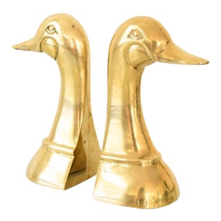 Mid-Century Solid Brass Duck Bookends - A Pair