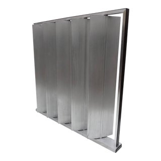 Louvered Metal Room Divider in the Manner of Jean Prouvé