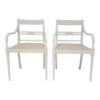 Vintage Lacquered Regency Chairs - A Pair