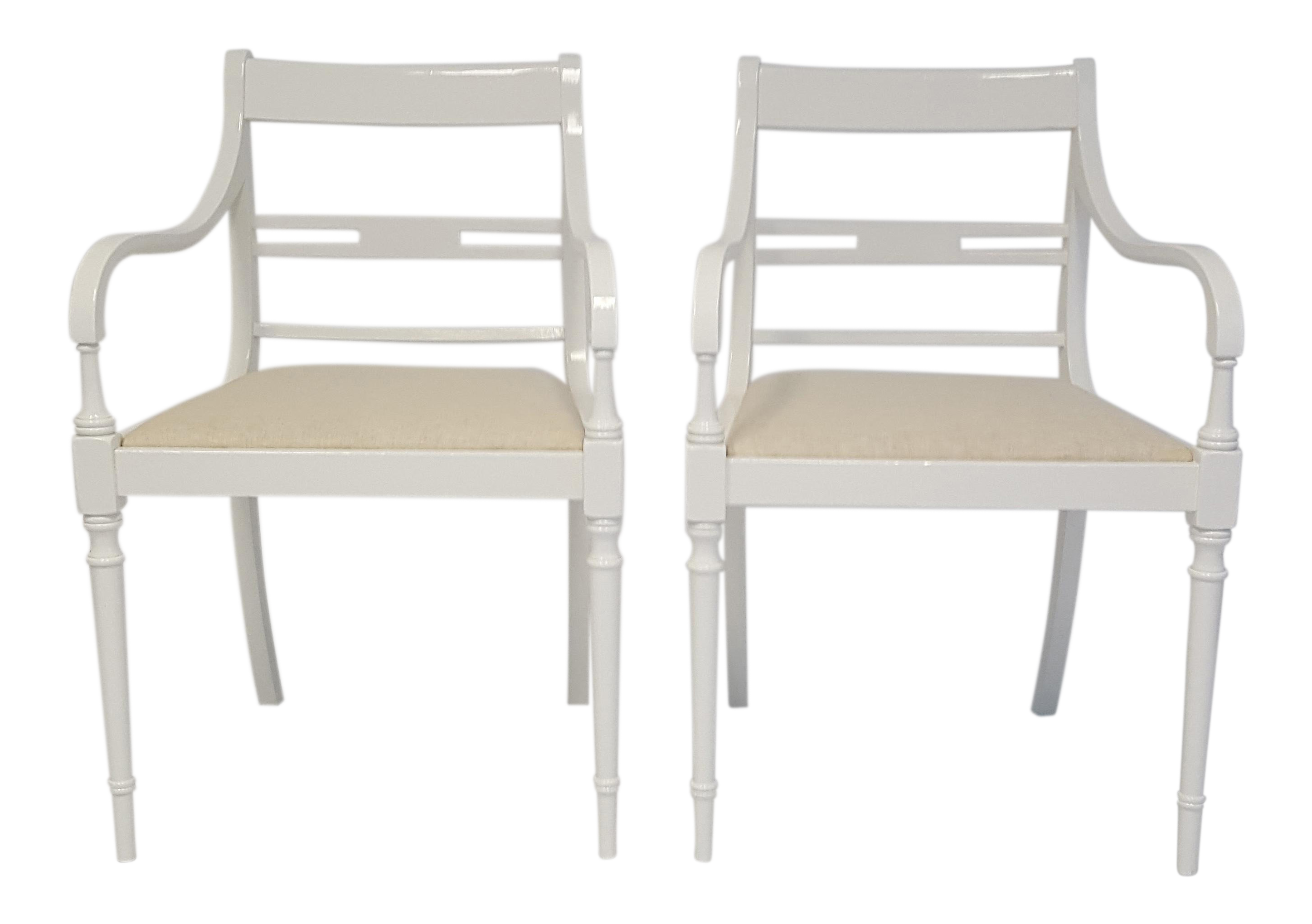 Vintage Lacquered Regency Chairs   A Pair