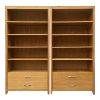 Custom Built Wood Bookcases - A Pair