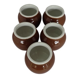 "Midcentury Brown""Hall Pottery"" Custard S/5"