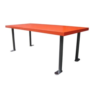 1960s French Red Lacquered Dining Table