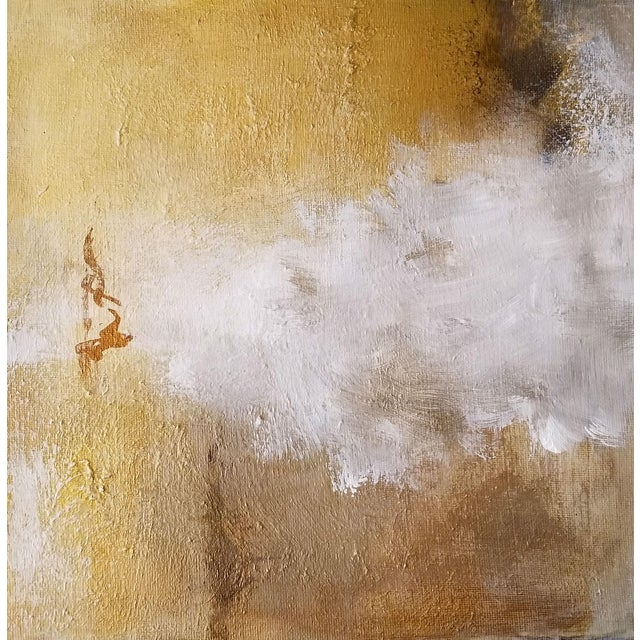 Burnished Metallic Gold Neutral Fine Original Textured Modern Abstract Painting - Image 1 of 2