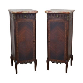 Antique Louis XV Marble Top Walnut Commodes - Pair
