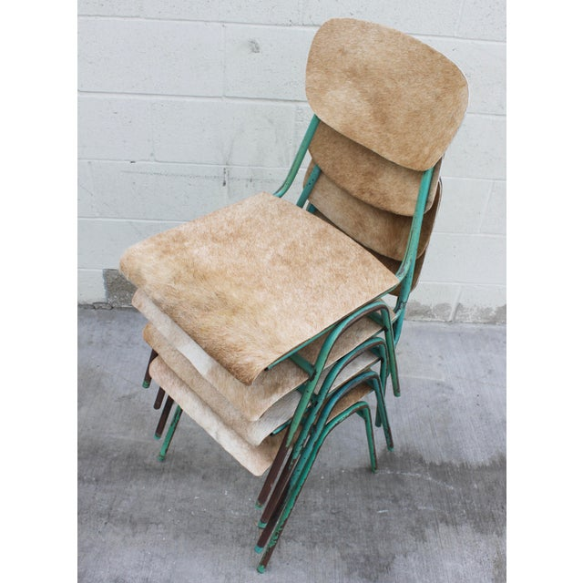 Vintage French Stacking Steel, Bentwood and Leather Schoolhouse Dining Chairs - Set of 4 - Image 4 of 11