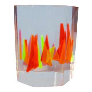 Geometric Lucite Sculpture Paperweight, Vasa Mihich Style