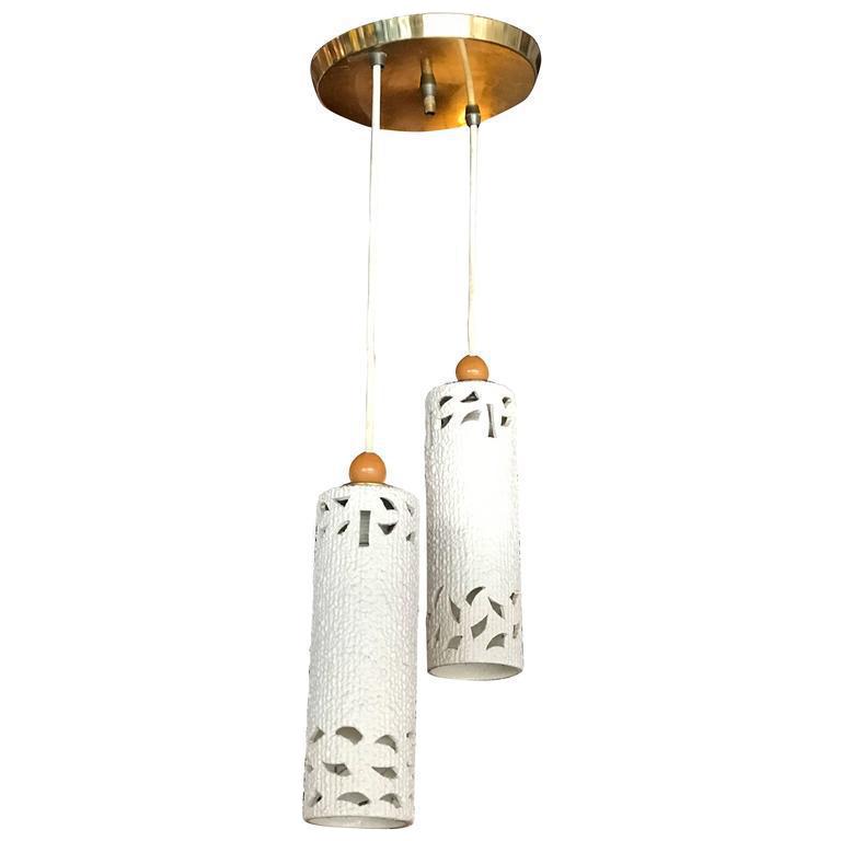 1960s Cream Ceramic Pendant Lighting