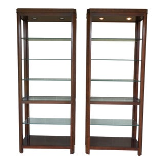 Ethan Allen Georgian Court Chinese Chippendale Style Open Etagere Cabinets -Pair