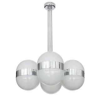 Sergio Mazza Style Italian Glass Globe Chandelier