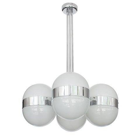 Image of Sergio Mazza Style Italian Glass Globe Chandelier