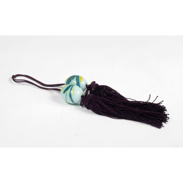 Image of Chinese Wine and Aqua Braided Tassels - A Pair