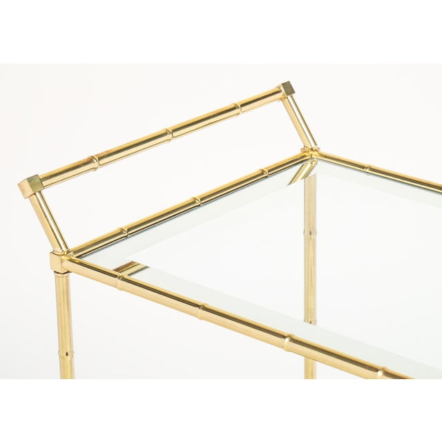Vintage French Brass Faux Bamboo Bar Cart or Trolley by Maison Baguès - Image 7 of 9