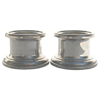 Silver Column Candle Holders - a Pair