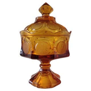 Amber Glass Pressed Coin Pedestal Candy Dish