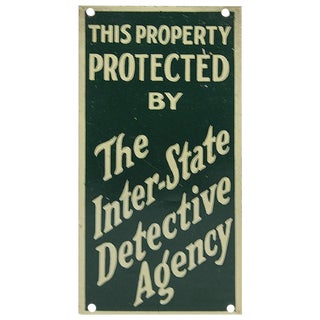 "1930s Advertising Sign, ""The Inter-State Detective Agency"""