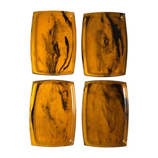 Tortoise Shell Plastic Trays - Set of 8
