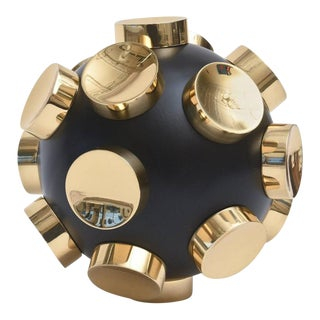 Modernist Brass and Black Resin Round Sculpture