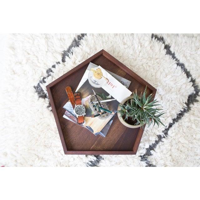 Handmade Walnut Wooden Geometric Pentagon Tray - Image 3 of 6