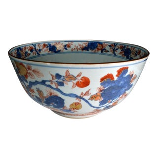 Chinese Export Imari Porcelain Punch Bowl.
