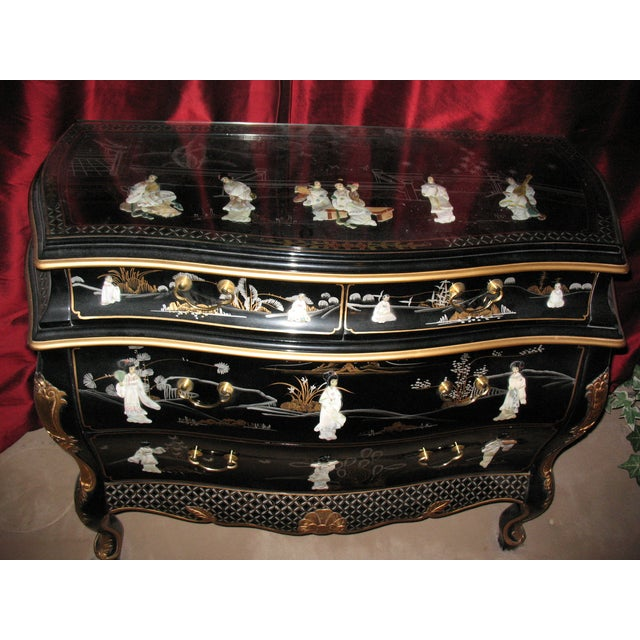 Image of Hand Painted Black Lacquer Dresser