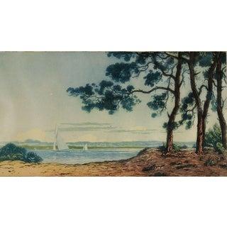 """Coastal Sailing"" French Aquatint"