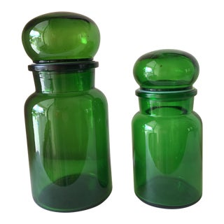 Vintage Green Apothecary Containers - A Pair