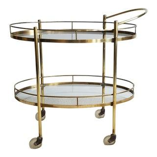 Two-Tier Vintage Brass & Glass Bar Cart