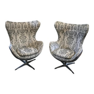 Custom Fabric 1950s Copenhagen Stlye Chairs - A Pair