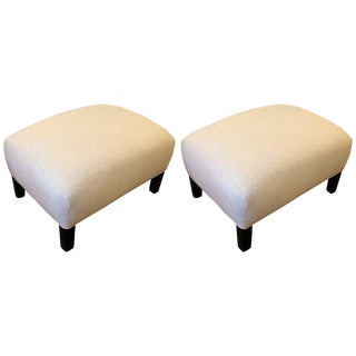 Traditional Linen Upholstered Ottomans - A Pair
