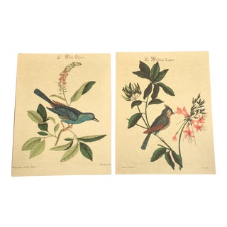 Vintage Bird Fabric Wall Hangings - A Pair