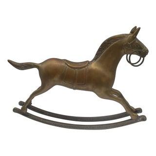 Large Brass Rocking Horse