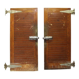 Wood Slatted Freezer Double Doors - A Pair