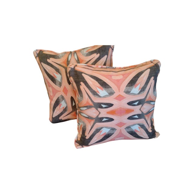 Small Peach Pillows by Amanda Talley - a Pair - Image 1 of 5