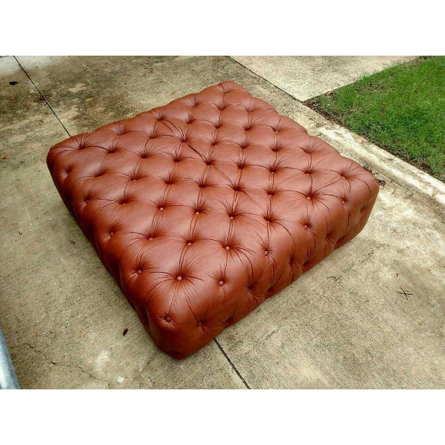 Gambrell Renard Saddle Brown Leather Tufted Ottoman - Image 3 of 3
