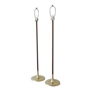 Pair of Teak and Brass Floor Lamps