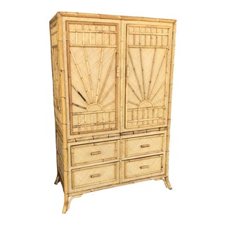 Vintage Rattan Burnt Bamboo Armoire
