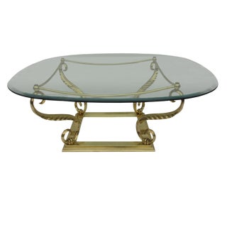 Brass and Glass Hollywood Regency Acanthus Glass Top Coffee Table