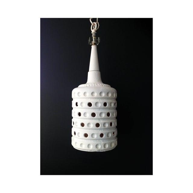Vintage Pierced Ceramic Pendant Lamp - Image 2 of 6