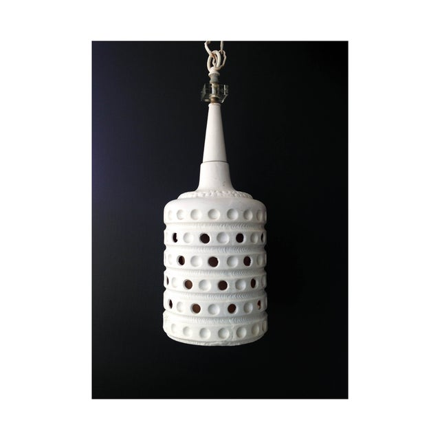 Image of Vintage Pierced Ceramic Pendant Lamp