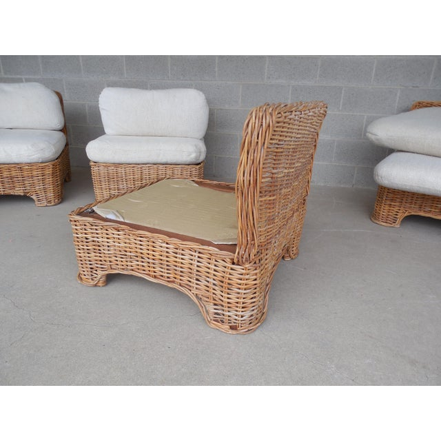 Vintage Wicker Sectional Patio Seating Set - Set of 6 - Image 6 of 8