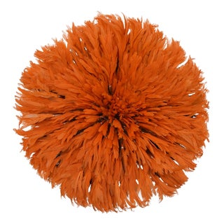 "Large 30"" Tangerine Orange African Feather Juju Hat Wall Hanging"