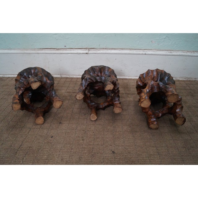 Mid Century Small Tree Stump Carved End Tables - Image 8 of 10