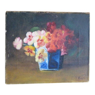 Antique Floral Oil Painting by F. Fenetty - Botanical