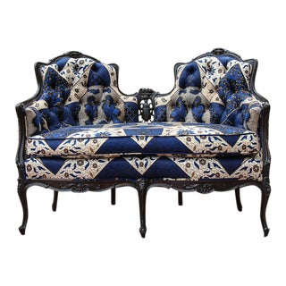 Antique Bergère Style Loveseat