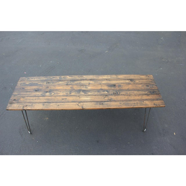 Mid-Century Reclaimed Wood & Hairpin Legs Coffee Table