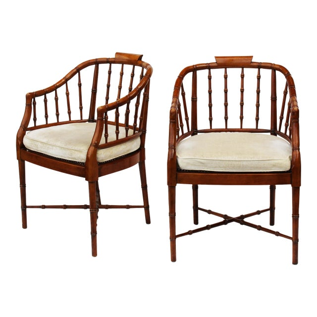 Hekman Faux Bamboo Chippendale Style Armchairs - a Pair - Image 1 of 6