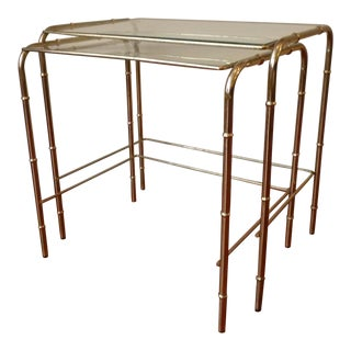 Hollywood Regency Style Faux Bamboo Nesting Tables - a Pair
