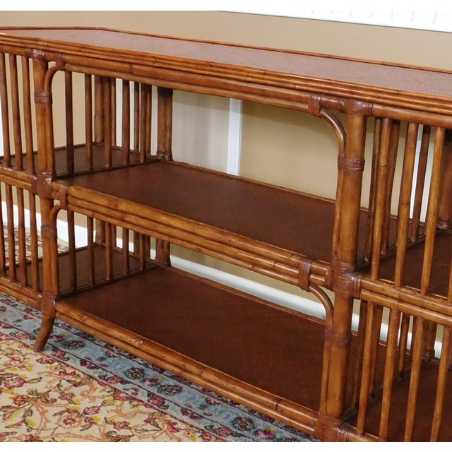 Ethan Allen Rattan Media Console Sofa Table - Image 5 of 9