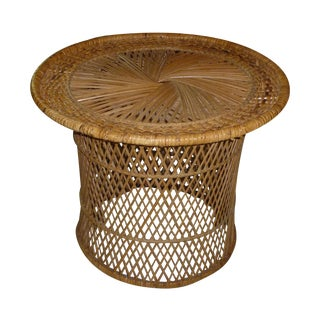 MCM Rattan Wicker Woven Round Side Table